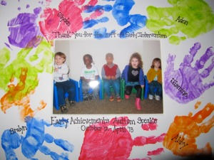 Each child has their own color for their handprint. And of course, we framed them.